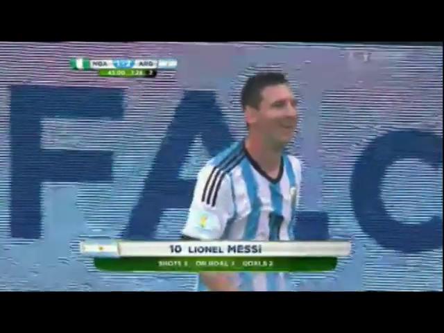 Nigeria 2-3 Argentina - Gól de L. Messi (45+1min)