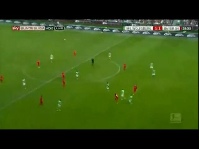 Wolfsburg 4-1 Bayer Leverkusen - Golo de J. Drmic (29min)