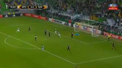Sporting CP 5-1 Skënderbeu Korçë - Golo de Matheus Pereira (77min)