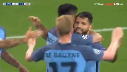 Manchester City 4-0 Borussia M'gladbach - Golo de S. Agüero (28min)