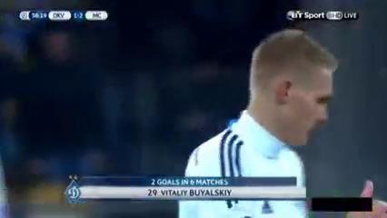 Dynamo Kyiv 1-3 Manchester City - Golo de V. Buyalskyy (58min)