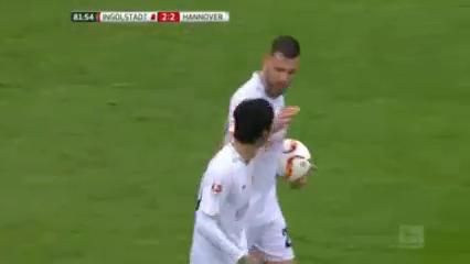 Ingolstadt 2-2 Hannover 96 - Golo de H. Kiyotake (82min)