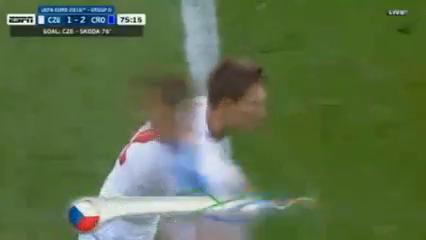 Czech Republic 2-2 Croatia - Golo de M. Škoda (75min)